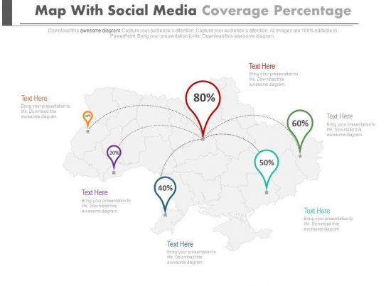 Map With Social Media Coverage Percentage Location