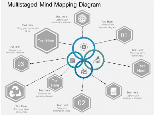 Multistaged Mind Mapping Diagram Flat Powerpoint Design