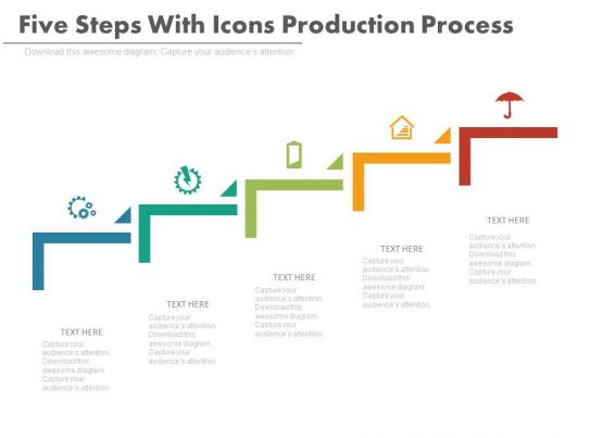 how to draw a flow net diagram house wiring maker new five steps with icons production process flat powerpoint design   presentation ...