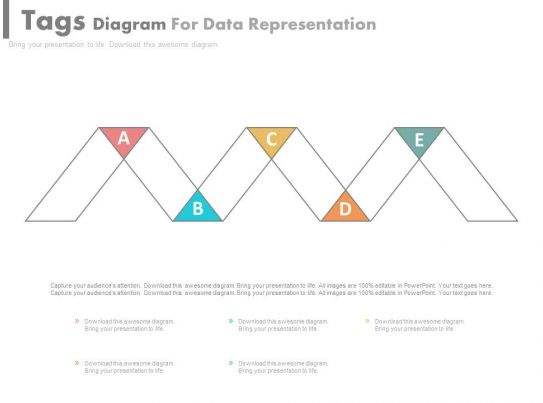 ppt Five Staged Tags Diagram For Data Representation Flat