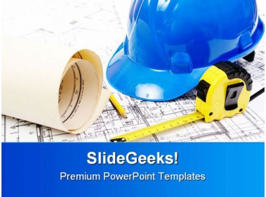 Building Plans Construction PowerPoint Template 1010