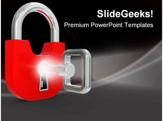 Lock With Key Security PowerPoint Templates And PowerPoint Backgrounds 0211 PowerPoint Design