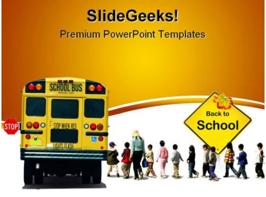 School Bus Travel PowerPoint Template 0810  PowerPoint