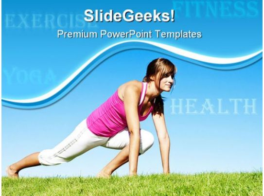 Woman Fitness And Stretching Health PowerPoint Templates