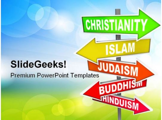 World Religions Signpost Metaphor PowerPoint Templates And PowerPoint Backgrounds 0811