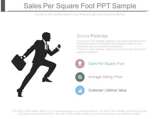 Sales Per Square Foot Ppt Sample