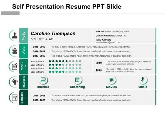 Self Presentation Resume Ppt Slide PowerPoint