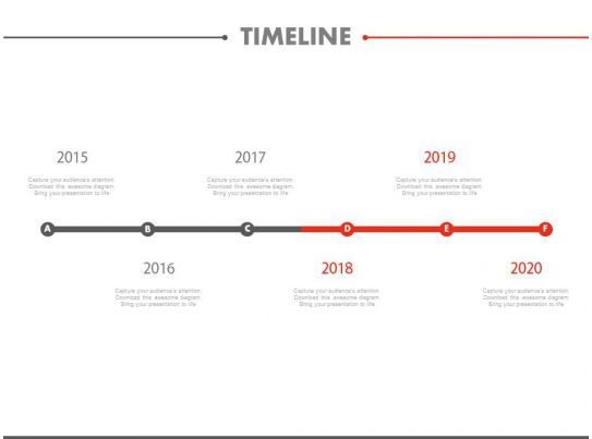 Six Staged Linear Timeline For Year Based Success