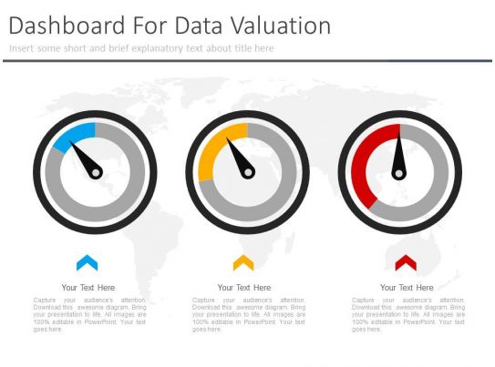 Three Dashboard For Data Valuation Powerpoint Slides