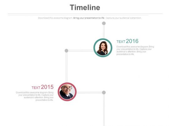 Two Staged Sequential Timeline Diagram Powerpoint Slides