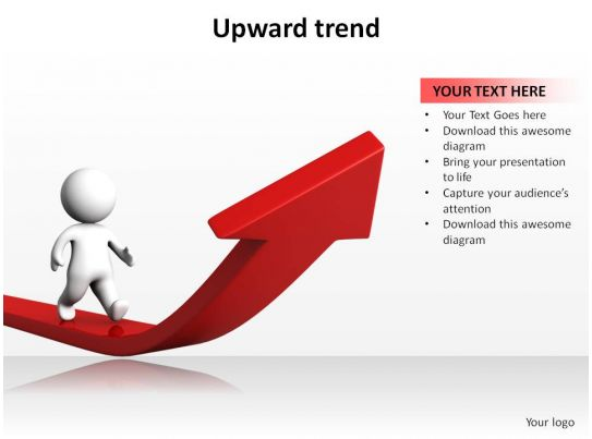 Upward Trend With Arrow And 3d Man Walking Ppt Slides