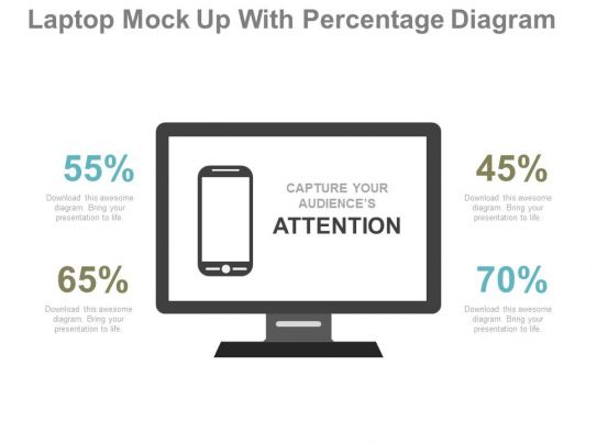 view Laptop Mock Up With Percentage Diagram Flat