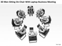 3D Men Sitting On Chair With laptop Business Meeting Ppt