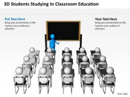 3D Students Studying In Classroom Education Ppt Graphics