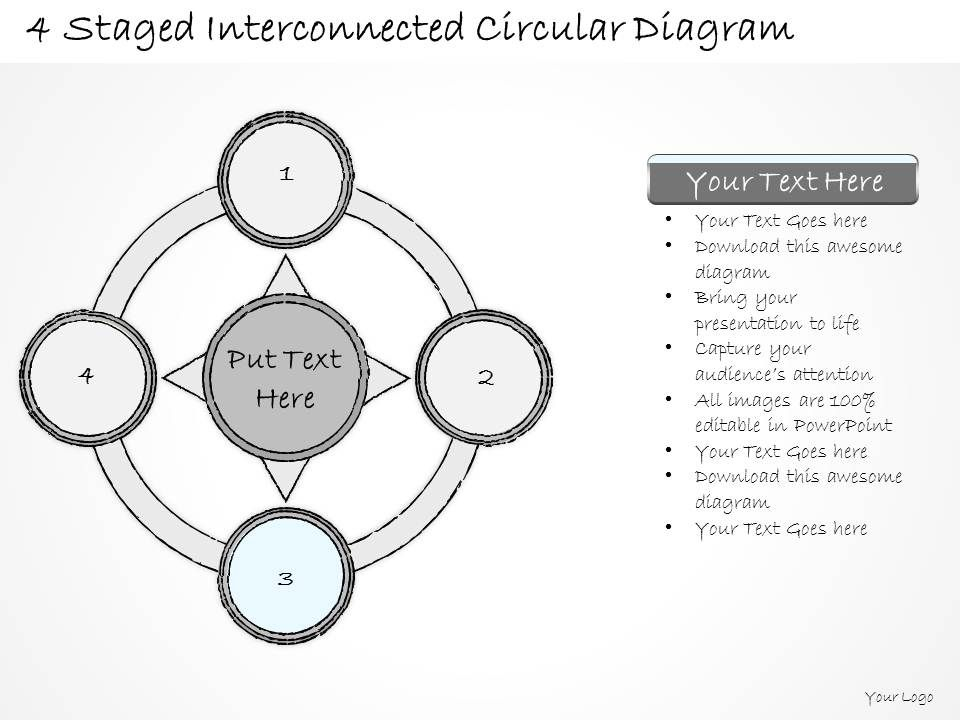 0714 Business Ppt Diagram 4 Staged Interconnected Circular