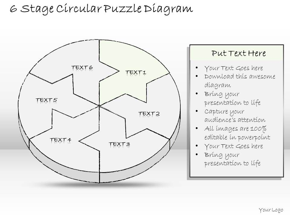 0714 Business Ppt Diagram 6 Stage Circular Puzzle Diagram