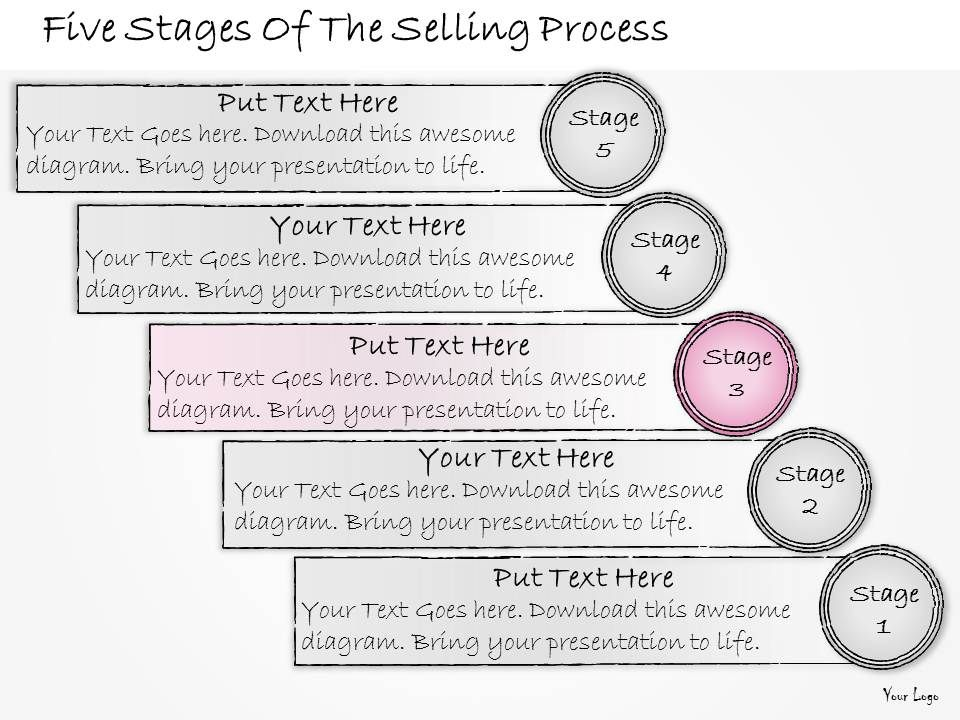 1013 Business Ppt Diagram Five Stages Of The Selling