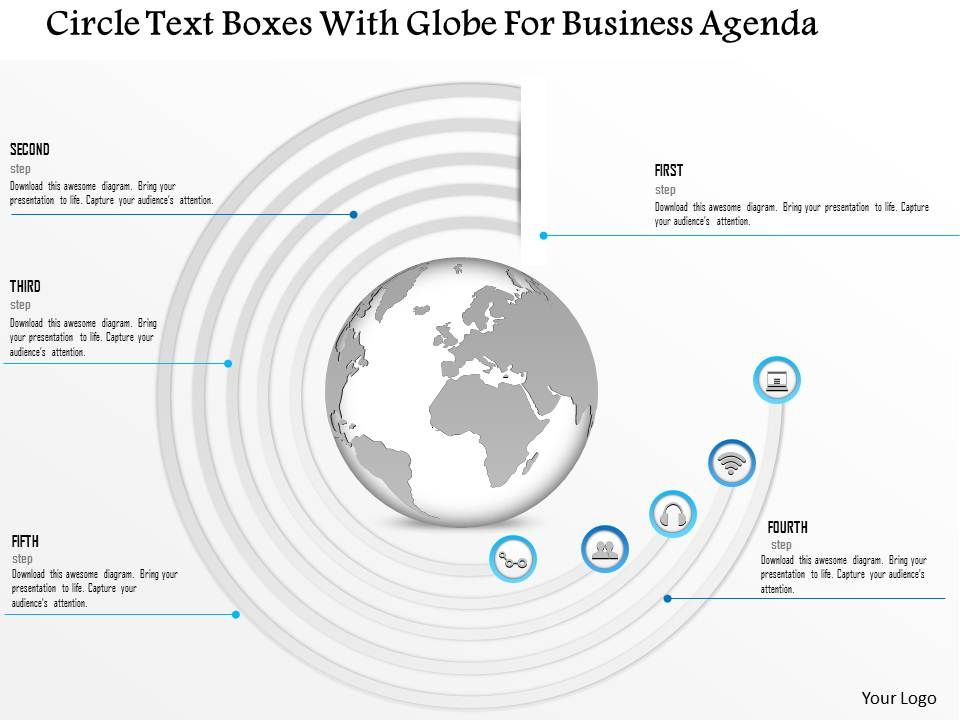1214 Circle Text Boxes With Globe For Business Agenda