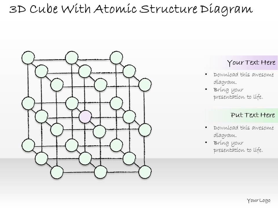 1814 Business Ppt Diagram 3d Cube With Atomic Structure