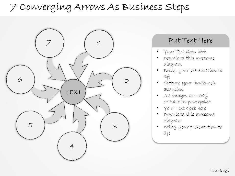 2014 Business Ppt Diagram 7 Converging Arrows As Business