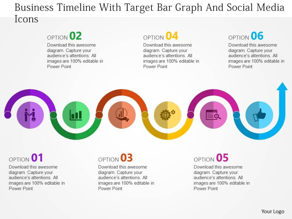 Business Timeline With Target Bar Graph And Social Media Icons Flat ...