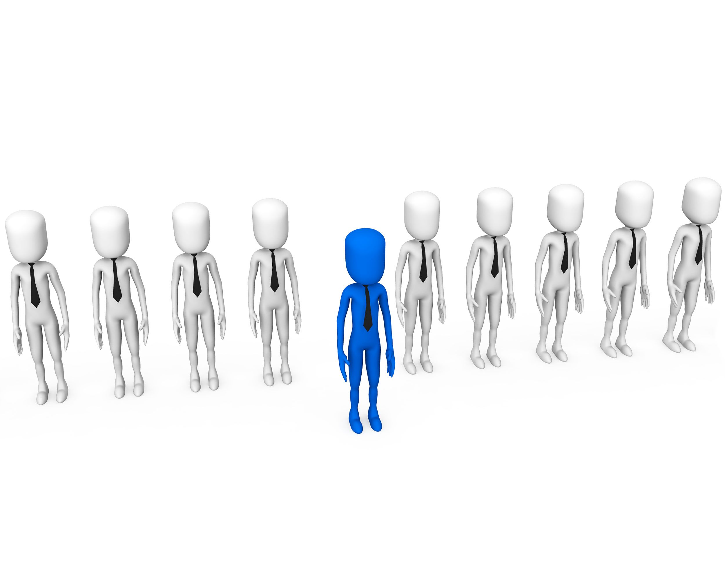 Line Of White 3D Men With One Blue Man Showing Leadership