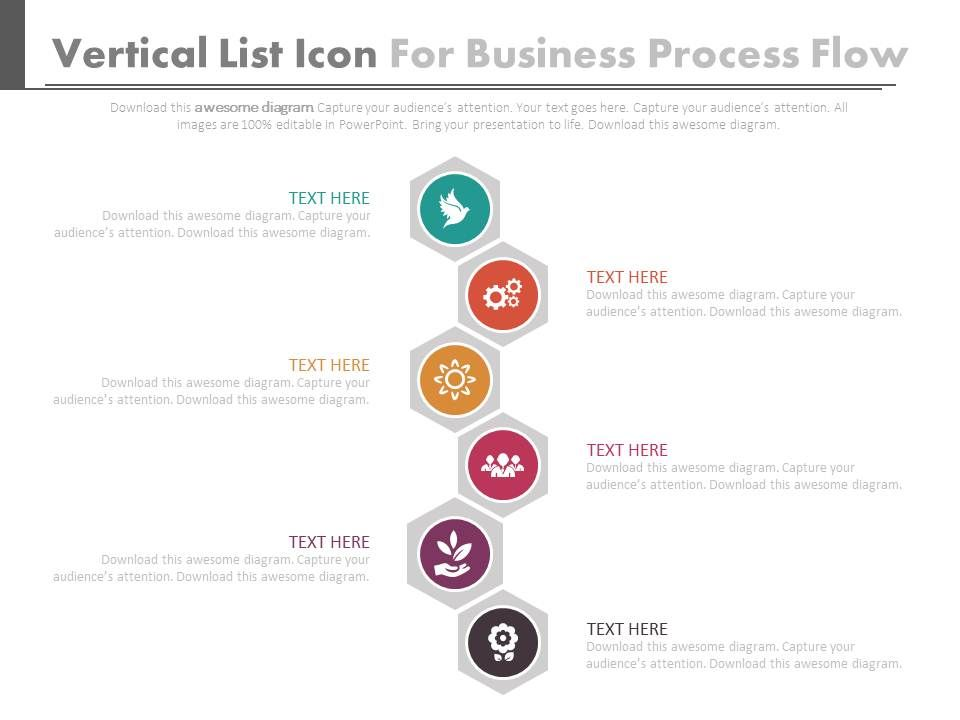Vertical Icons List For Business Process Flow Flat