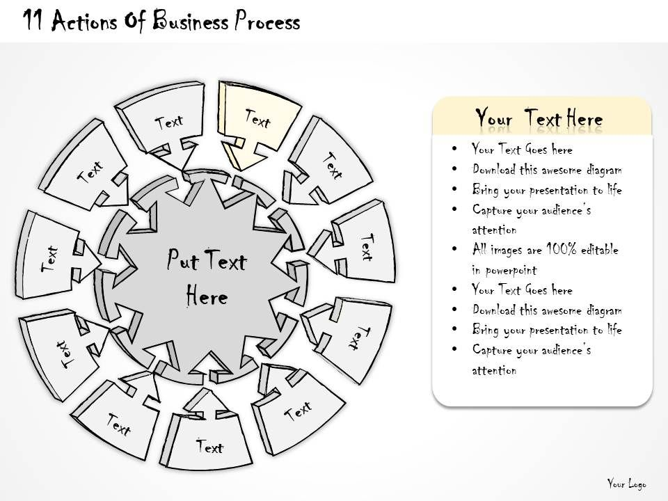 2014 Business Ppt Diagram 11 Actions Of Business Process