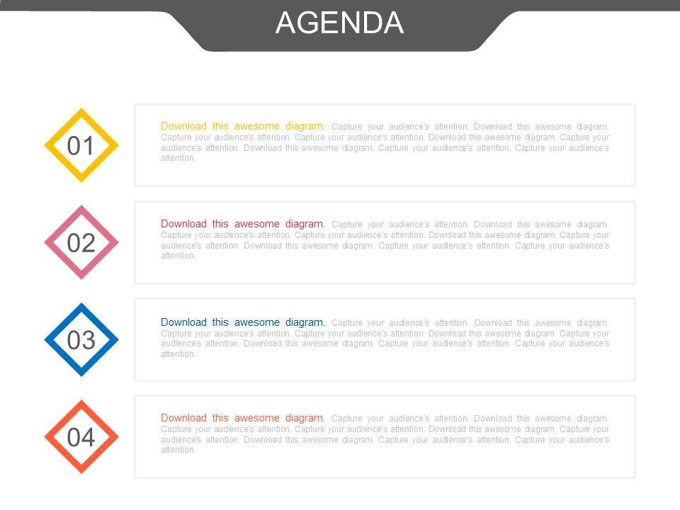 Four Staged Business Agenda Analysis Powerpoint Slides
