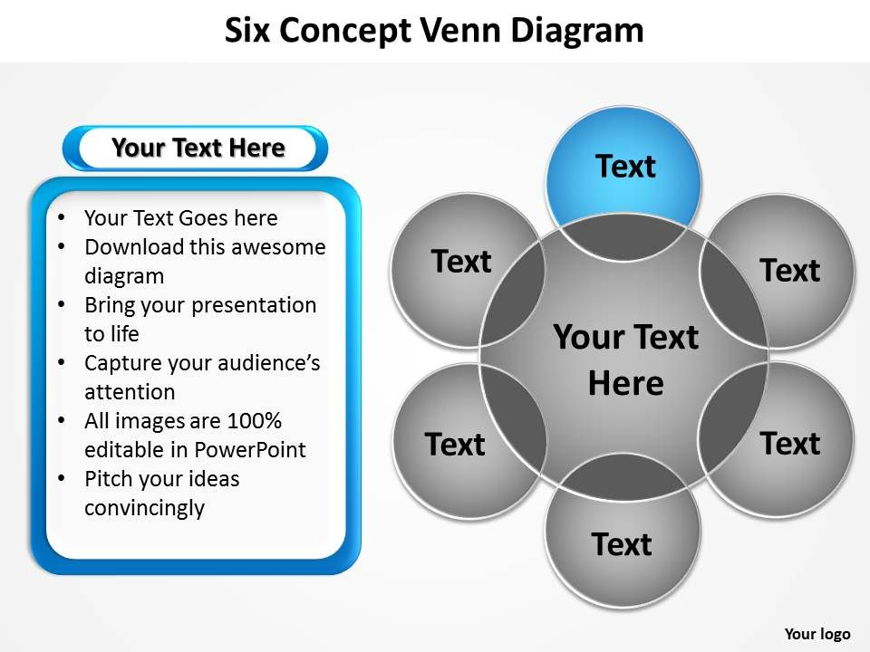 6 circle writable venn diagram example dodge electronic ignition wiring six concept with big ring in center and circles powerpoint templates graphics 712 slide02