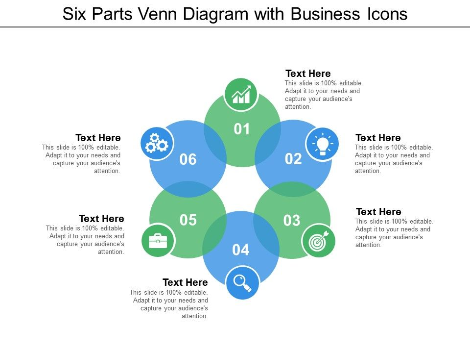 6 circle writable venn diagram example freightliner fld wiring diagrams six parts with business icons template presentation slide01 slide02 slide03