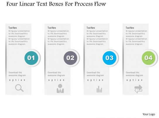 Awesome Marketing Slides showing 1214 Four Linear Text