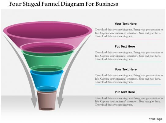 Style Layered Funnel 4 Piece Powerpoint