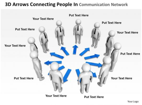 3D Arrows Connecting People In Communication Network Ppt