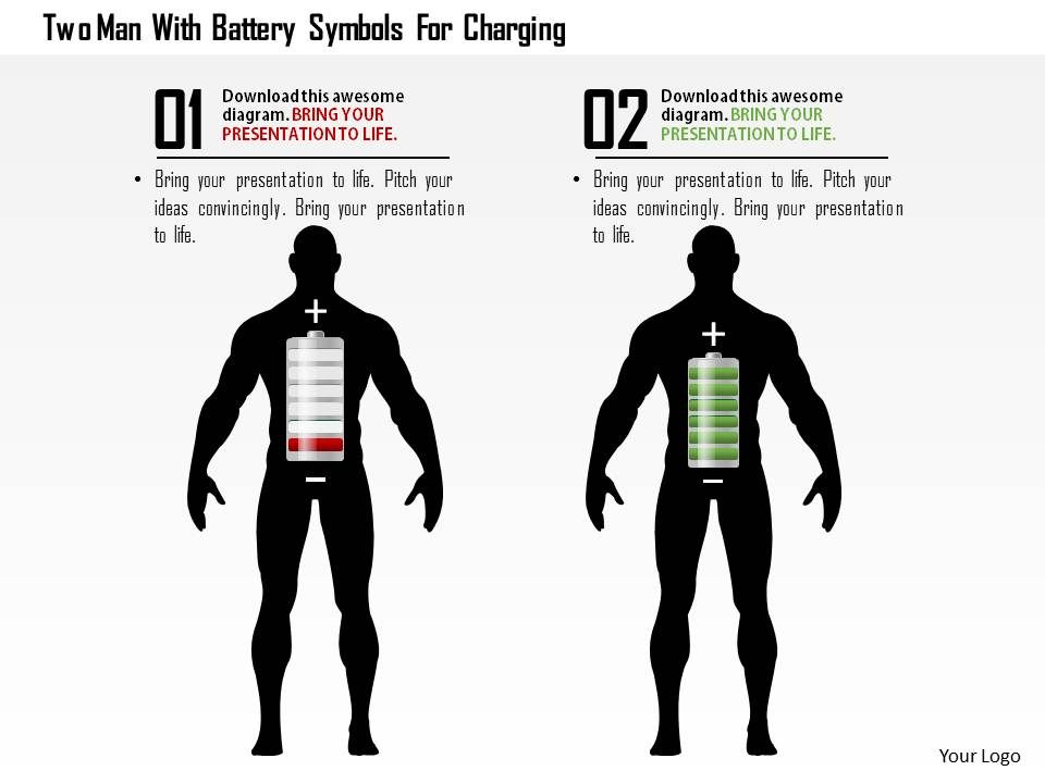 0115 Two Man With Battery Symbols For Charging Powerpoint