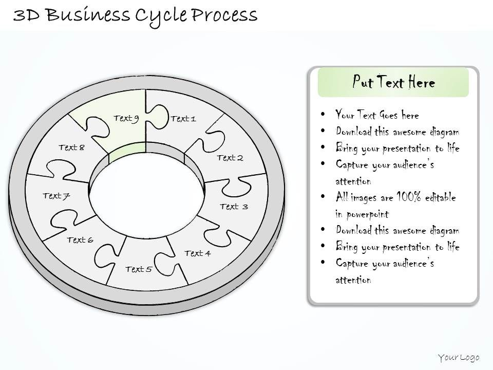 0614 Business Ppt Diagram 3D Business Cycle Process
