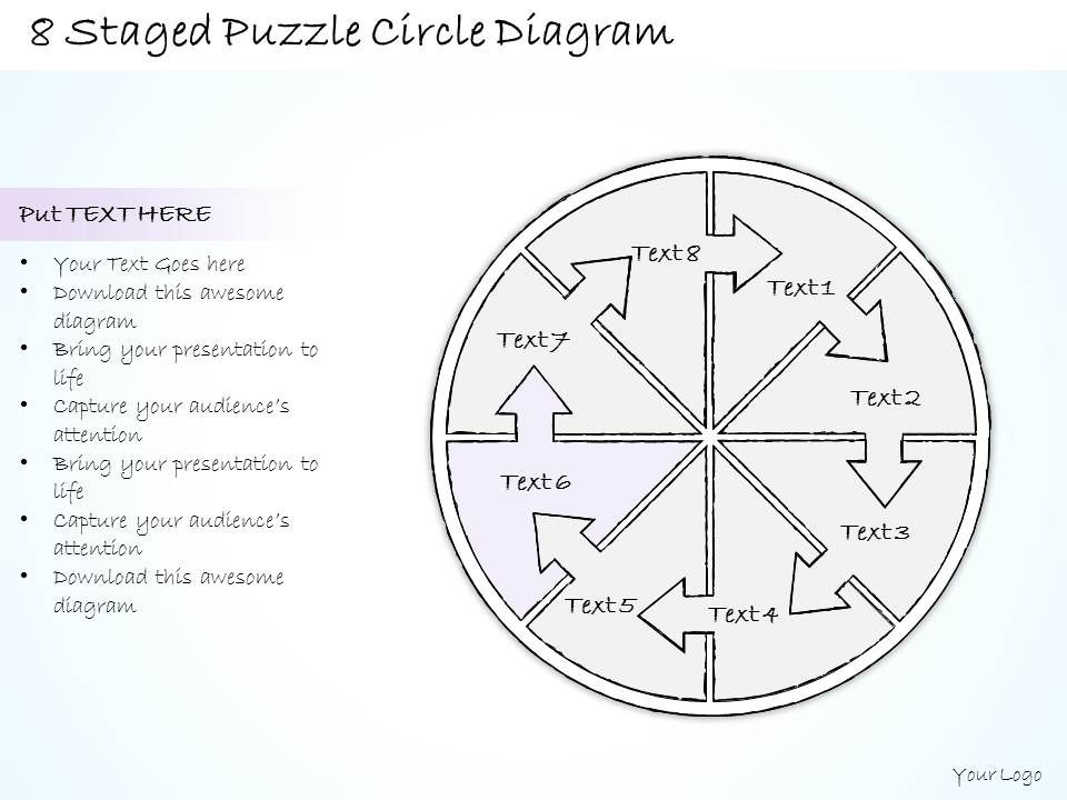 0714 Business Ppt Diagram 8 Staged Puzzle Circle Diagram