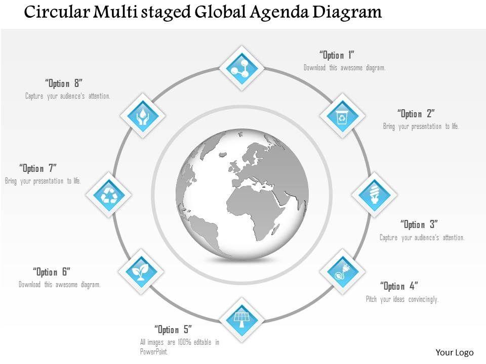 1214 Circular Multistaged Global Agenda Diagram Powerpoint