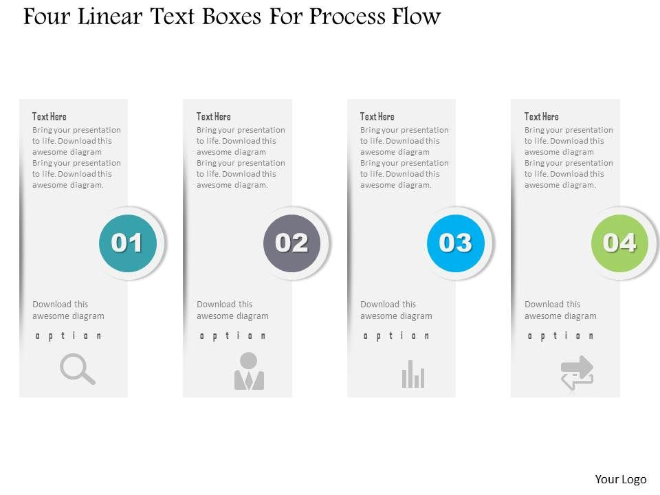 1214 Four Linear Text Boxes For Process Flow Powerpoint
