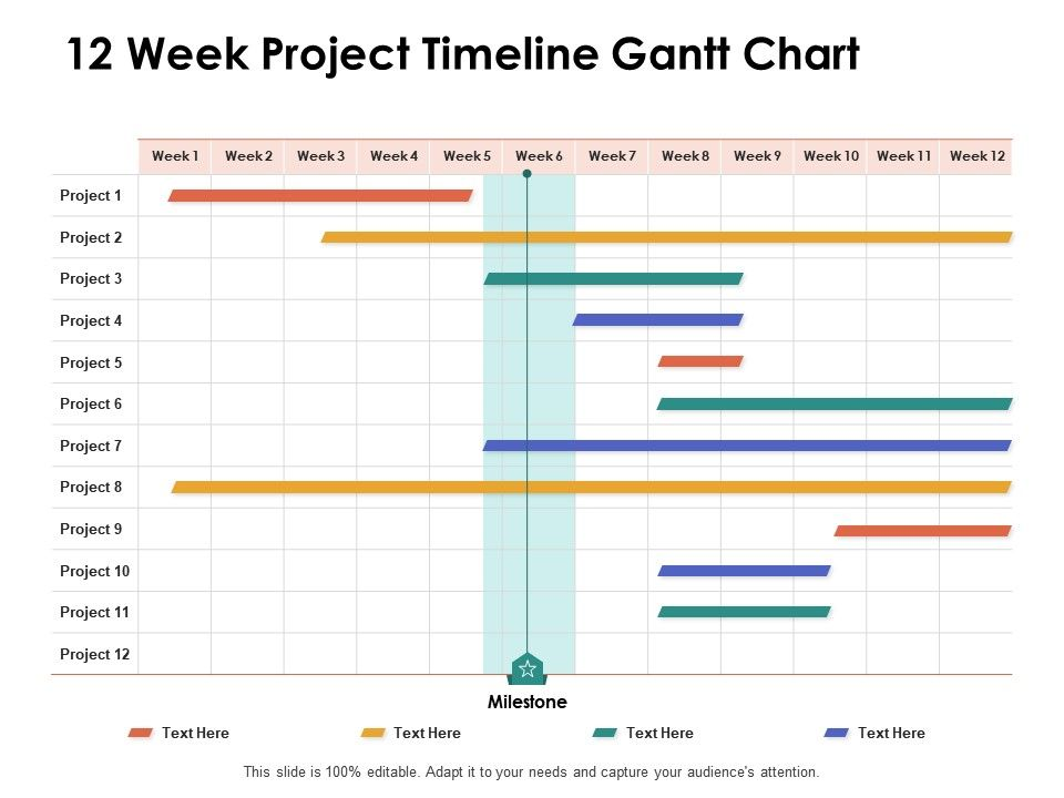 A project timeline can be created in excel using charts linked to data tables, so that the chart updates when you edit the data table. 12 Week Project Timeline Gantt Chart Ppt Powerpoint Presentation Show Inspiration Powerpoint Slide Images Ppt Design Templates Presentation Visual Aids