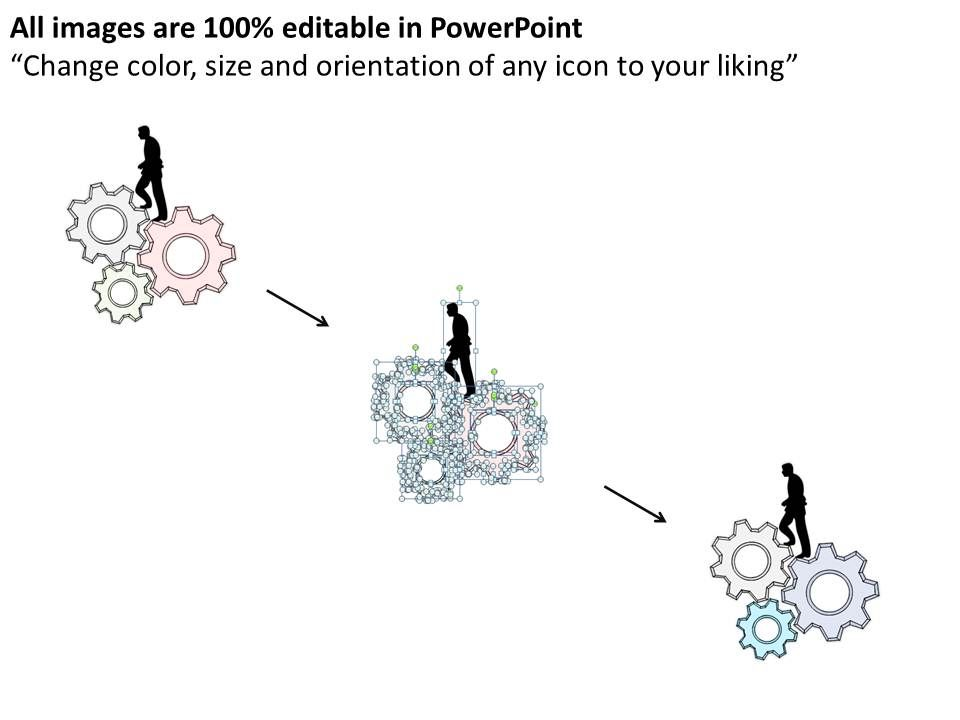 2502 Business Ppt Diagram 3d Man On Turning Gears