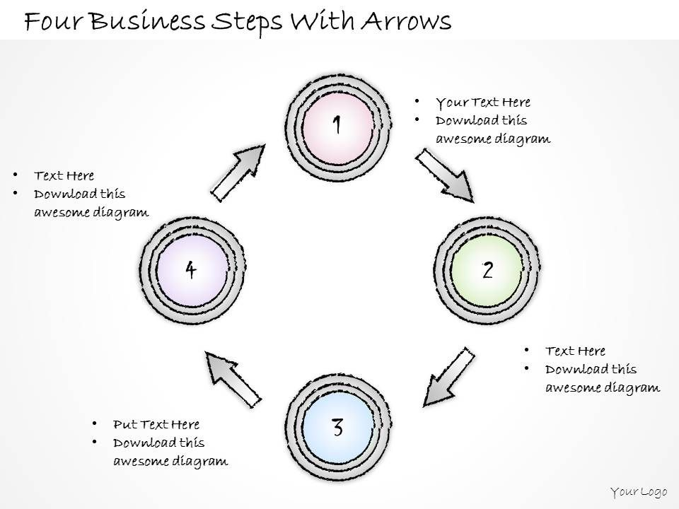 2502 Business Ppt Diagram Four Business Steps With Arrows