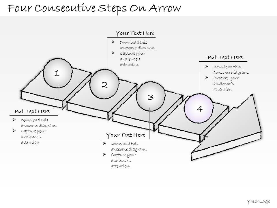 2502 Business Ppt Diagram Four Consectutive Steps On Arrow