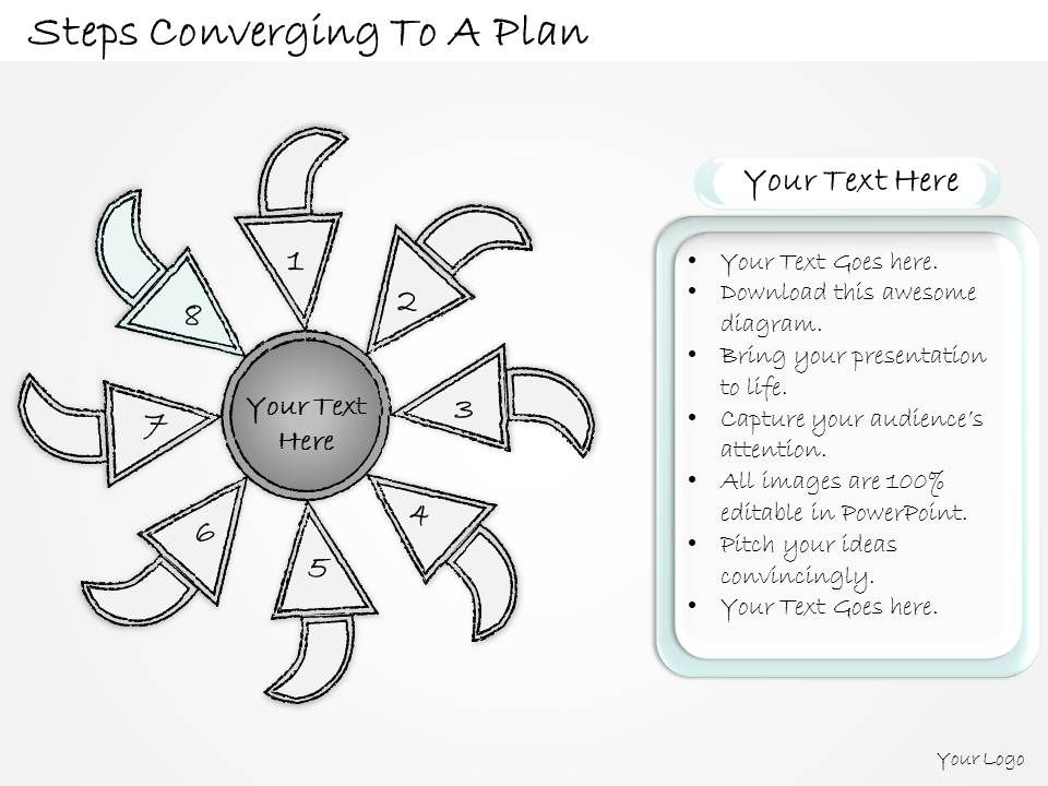 2502 Business Ppt Diagram Steps Converging To A Plan