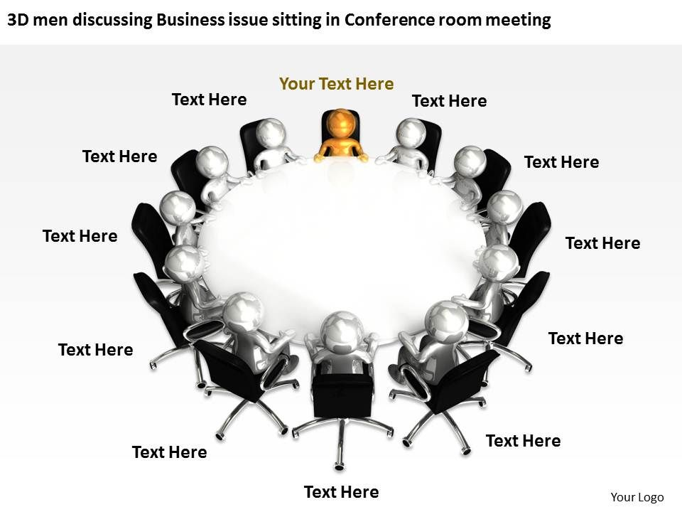 3D men discussing Business issue sitting in Conference