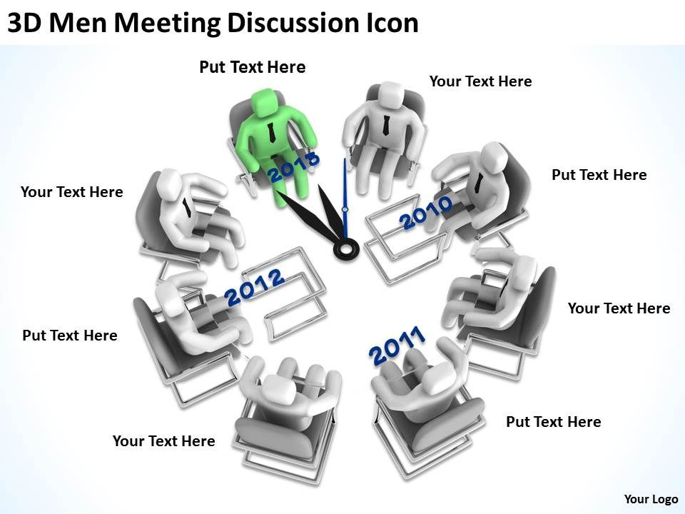 3D Men Meeting Discussion Icon Ppt Graphics Icons