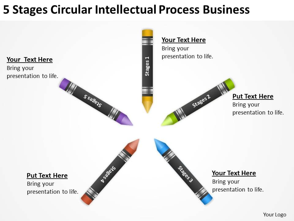 Business Process Flow Diagram 5 Stages Circular