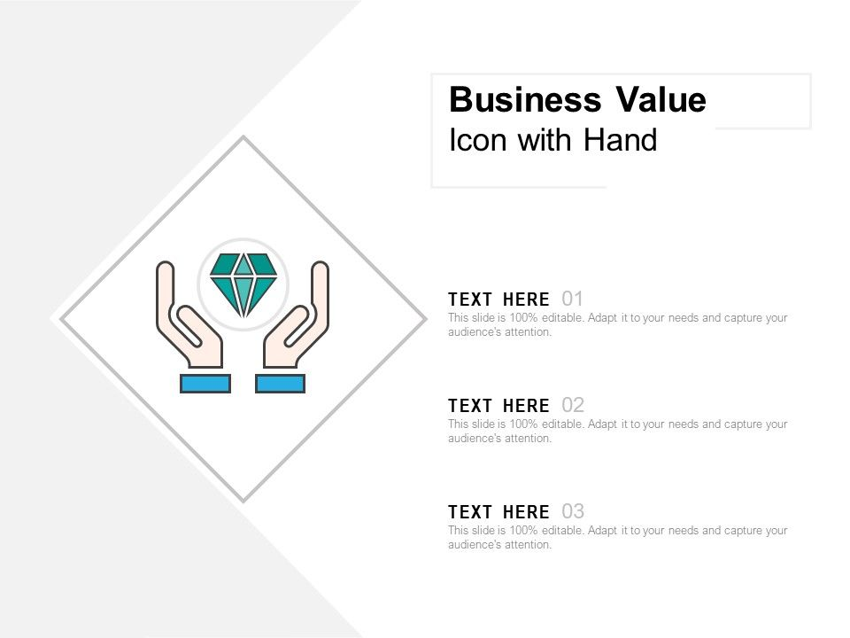 Business Value Icon With Hand Powerpoint Shapes Powerpoint Slide Deck Template Presentation Visual Aids Slide Ppt