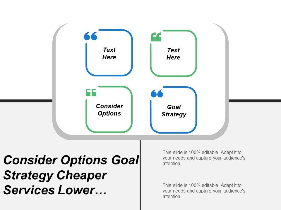 Consider Options Goal Strategy Cheaper Services Lower