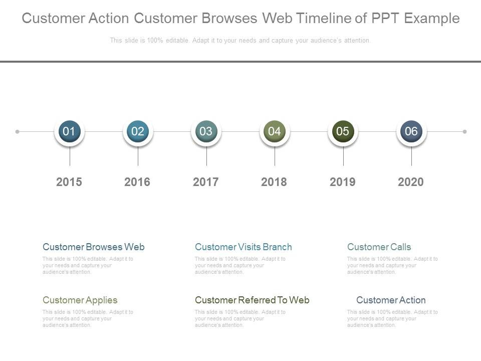 Customer Action Customer Browses Web Timeline Of Ppt